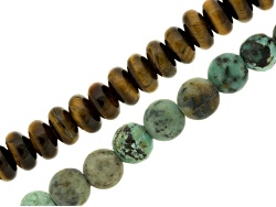 JLW8978<br>Tiger's Eye Rondelle & Round Turquoise Simulant 8mm Large Hole Beads Appx 8 Length