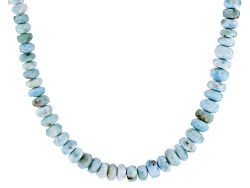 YAH222<br>6mm Rondelle Larimar Bead Sterling Silver Necklace