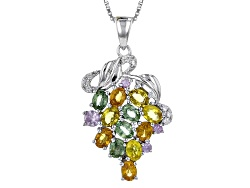 RNH099<br>3.36ctw Green, Orange, Yellow And Pink Sapphire With .11ctw White Zircon Silver Pendant Wi