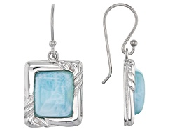 YAH320<br>Baguette Cabochon Larimar Sterling Silver Solitaire Earrings