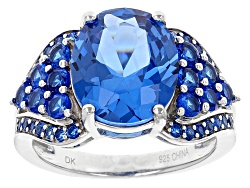 YAH333<br>4.00ct Oval And 1.09ctw Round Lab Created Blue Spinel Sterling Silver Ring