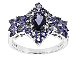 JJH044<br>1.71ctw Oval, Marquise, And Round Iolite Sterling Silver Cluster Ring