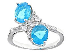 DOCX417<br>1.57ctw Oval Blue Ethiopian Opal With .46ctw Round White Zircon Sterling Silver 2-stone B