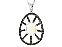 DOCX462<br>1.40ct Oval Ethiopian Opal With 1.05ctw Round Black Spinel Sterling Silver Pendant With C