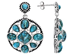 RNH550<br>Square Cushion, Oval, Pear Shape And Round Blue Turquoise Sterling Silver Earrings
