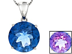 RNH597<br>12.00ct Round Color Change Blue Fluorite Solitaire Sterling Silver Pendant With Chain