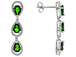 DOCX488<br>4.71ctw Pear Shape Russian Chrome Diopside Sterling Silver 3-stone Dangle Earrings