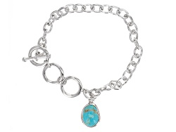 JJH130<br>Fancy Cut Cabochon Turquoise Charm And Sterling Silver Bracelet