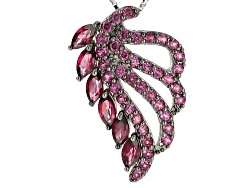 REH420<br>3.21ctw Marquise And Round Raspberry Rhodolite Sterling Silver Pendant With Chain