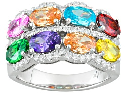 Bella Luce R 573ctw Multicolor Gem Simulants Rhodium Over Sterling Silver Ring
